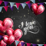Chalk illustration of handwritten I love you retro label. lettering composition with flying heart balloons and festive flags Stock Photo