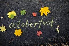 Chalk inscription on the asphalt Oktoberfest. Autumn leaves on the pavement royalty free stock images