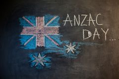 Chalk inscription on the blackboard and picture of the flag of Australia Royalty Free Stock Photos