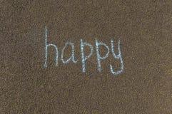 Chalk inscription, happy stock photography