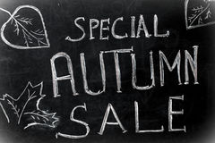 Chalk inscription, special autumn sale black chalkboard Stock Image