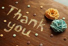 Chalk  inscription thank you. Chalk  note thank you on wood background Stock Image
