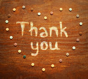 Chalk  inscription thank you. Chalk  note thank you on wood background Royalty Free Stock Photography