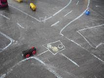 Chalk kid street traffic Stock Photo