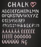 Chalk latin multilingual alphabet. Royalty Free Stock Photo