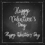 Chalk lettering - Valentines Day. Hand drawn chalk lettering- Valentines Day - on chalkboard. Hand painted vector illustration. Design by flyer, banner, poster Royalty Free Stock Image