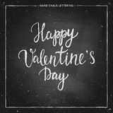 Chalk lettering - Valentines Day. Hand drawn chalk lettering - Valentines Day - on chalkboard. Hand painted vector illustration. Design by flyer, banner, poster Royalty Free Stock Photography