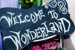 The chalk lettering `welcome to wonderland` on the chalkboard. The chalk lettering `welcome to wonderland` on the black chalkboard royalty free stock photo