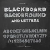 Chalk letters on blackboard. Hand drawn vector alphabets chalk on a blackboard Stock Photos