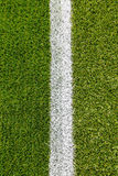 Chalk line on artifical turf soccer field Royalty Free Stock Photography
