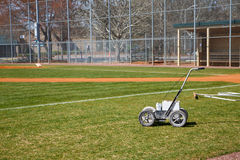 Chalk LIne Machine on Baseball Field Stock Photo