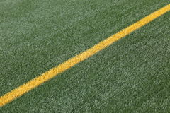 Chalk line on soccer pitch Stock Images