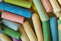 Chalk macro. A close up shot of a box of chalks royalty free stock image