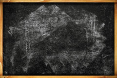 Chalk marks on dirty school blackboard with wooden frame Stock Photography