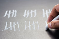 Chalk marks. Hand counting with chalk marks Stock Photography