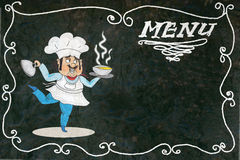 Chalk menu with cook Royalty Free Stock Photo