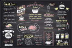 Chalk menu list blackboard design for cafe or restaurant. Breakfast and lunch, fast-food and pizza, grill menu, drinks,  mock up Royalty Free Stock Images