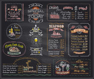 Chalk menu list blackboard designs set for cafe or restaurant. Sushi menu, desserts, seafood, fish bar, cocktails, beer, burgers and sandwiches, copy space Stock Images
