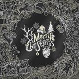 Chalk Merry Christmas background. Stock Photos