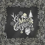 Chalk Merry Christmas background. Vector chalk holly berries frame on blackboard background. There is place for your text in the center Royalty Free Stock Photos