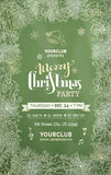 Chalk Merry Christmas party template. Vector festive vertical frame of chalk mistletoes, pine branches and cones on green blackboard background royalty free illustration