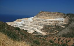 Chalk mine. On the Cretan countryside stock photos