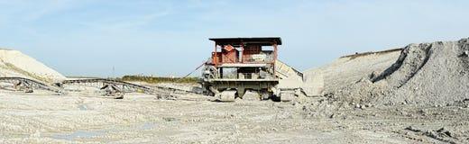 Chalk mine with stone crusher and conveyor belt Stock Image