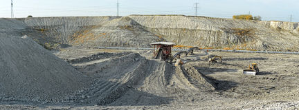 Chalk mine with stone crusher and conveyor belt Stock Photography