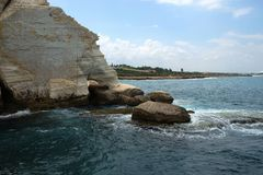 Chalk mount Foot elephant in Rosh Hanikra Royalty Free Stock Photos