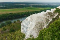 Chalk mountain of picturesque valley Stock Photos