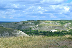 Chalk mountains. Landscape Russia Voronezh region Stock Photos