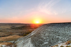 Chalk mountains at  sunset. Royalty Free Stock Images