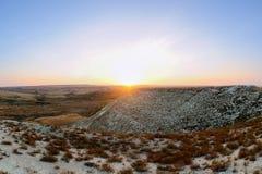 Chalk mountains at  sunset. Stock Photos