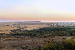 Chalk mountains at  sunset. Stock Photo