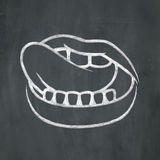 Chalk Mouth Licking Lips Royalty Free Stock Images