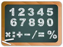 Chalk Numbers on Chakboard Royalty Free Stock Photos