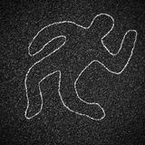 Chalk outline of dead body on asphalt Royalty Free Stock Images