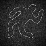 Chalk outline of dead body on asphalt Royalty Free Stock Images