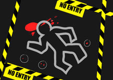 Chalk outline of dead body blood and no entry label on Royalty Free Stock Image