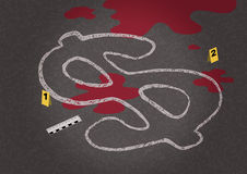 A chalk outline of a dead body symbolizing a falling dollar and criminalistic objects nearby. Royalty Free Stock Image