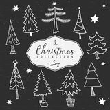 Chalk outline winter tree. Christmas collection. Hand drawn illustration. Design elements Royalty Free Stock Photography