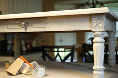 Chalk paint and sandpaper table project Royalty Free Stock Photography
