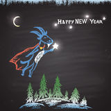 Chalk painted colored illustration with flying goat, Christmas trees, bright stars, moon and text. Happy New Year Theme. Card design Vector Illustration