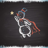 Chalk painted colored illustration with flying snowman, star and frost. Happy New Year Theme. Royalty Free Stock Images
