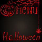 Chalk painted halloween menu blank with pumpkin Royalty Free Stock Photo