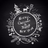 Chalk painted illustration with Christmas ball,  ''Merry Christmas & Happy New Year'' text  and set of different holiday elements. Royalty Free Stock Photography