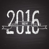 Chalk painted illustration with 2016,  ''happy new year'' text, ribbon on black chalkboard. Royalty Free Stock Images