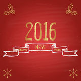 Chalk painted illustration with 2016, ''happy new year'' text, ribbon and crossed arrows on red chalkboard. Happy New Year Theme. Card design stock illustration