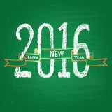 Chalk painted illustration with 2016,  ''happy new year'' text, ribbon on green chalkboard. Stock Photos