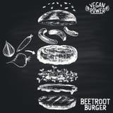 Chalk painted illustration of vegan Beetroot burger ingredients. Burger menu theme. Stock Photos